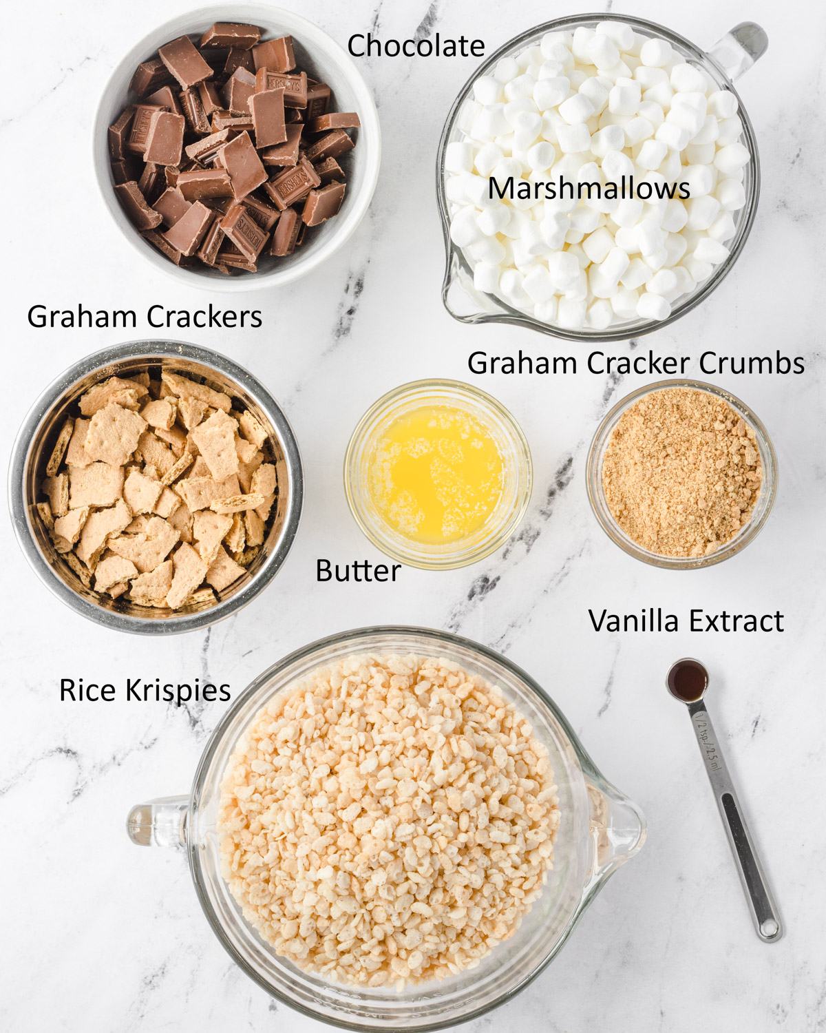 Labeled ingredients for s'mores rice krispie treats.
