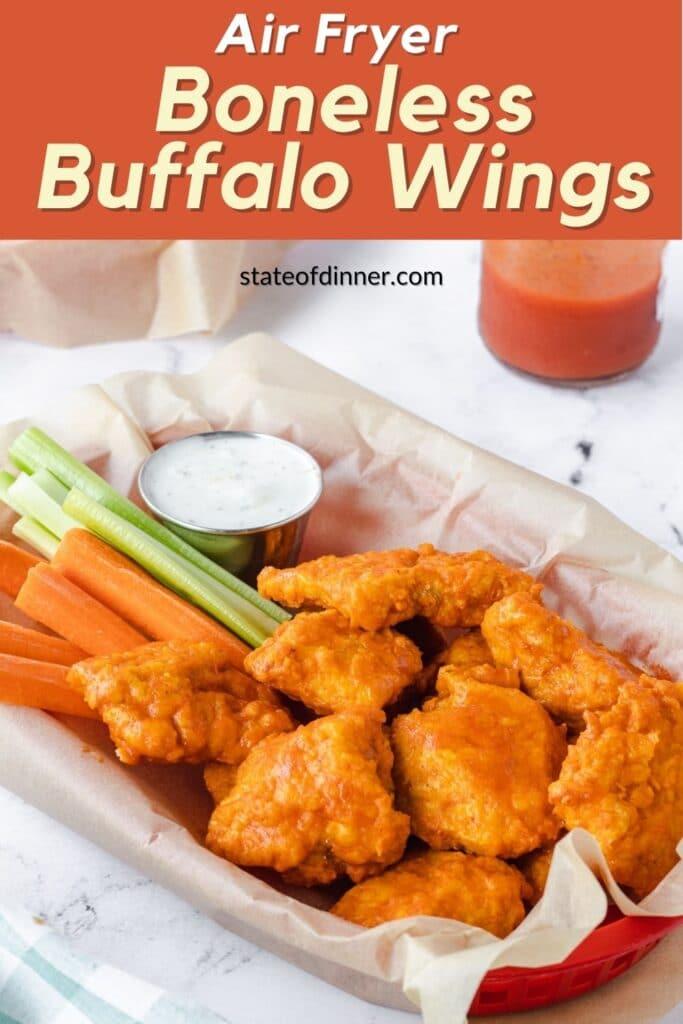 Pinterest pin: Basket of air fryer boneless buffalo wings.