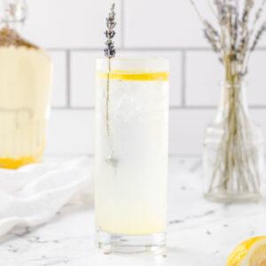 Lavender vodka collins, garnished with a lavender stem and a lemon slice.