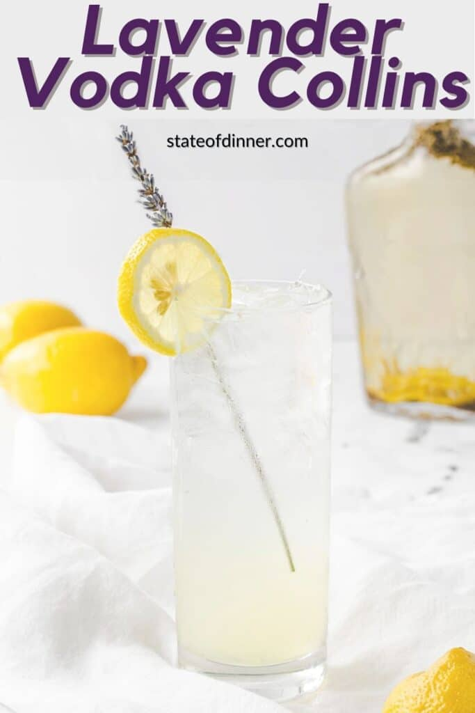 Pinterest Pin: Tall Collins glass filled with a lavender vodka colin