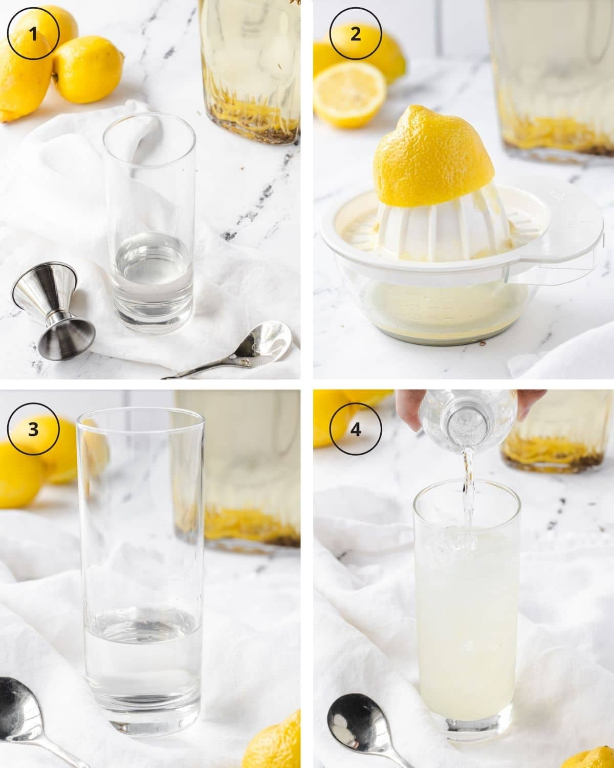 Step-by-step process of making a vodka collins.
