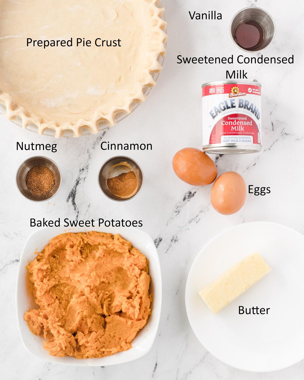 Sweet potato pie ingredients.