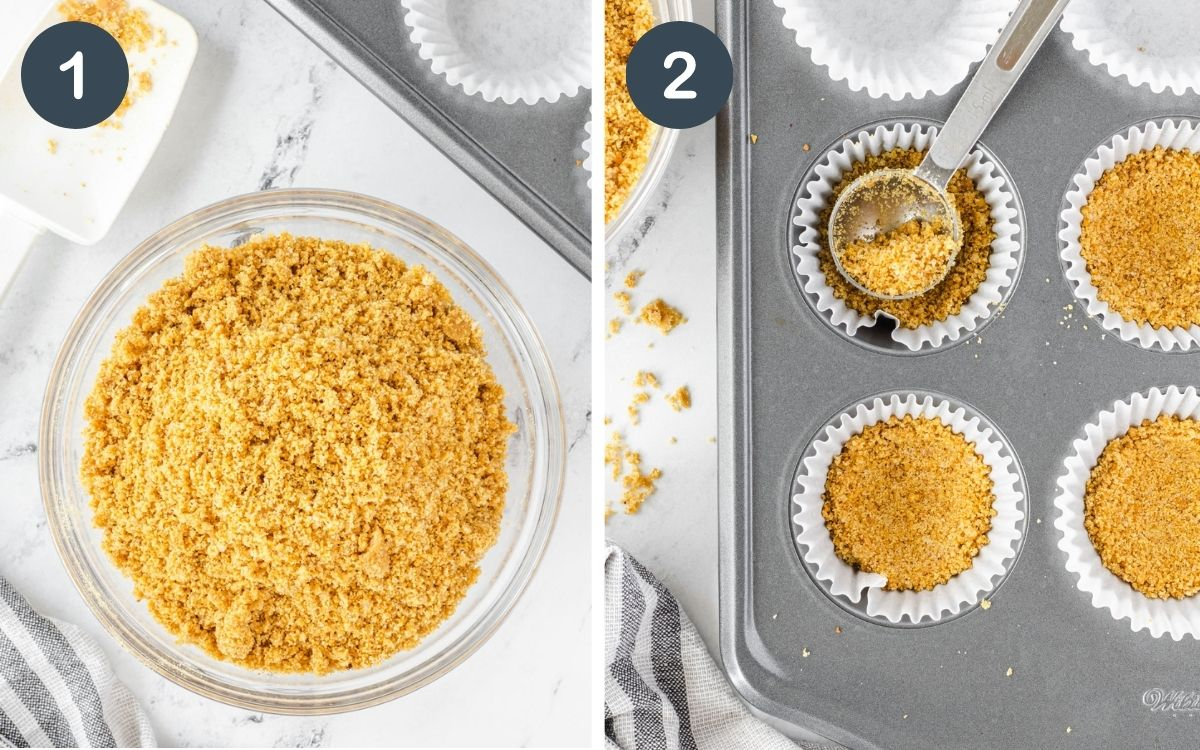 2 photo collage: 1 graham cracker mixture in bowl, 2 pressed into muffin tin.