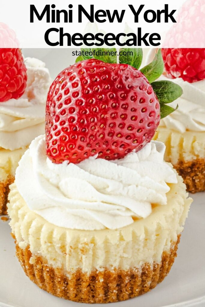 Pinterest Pin: Close up of mini cheesecakes.
