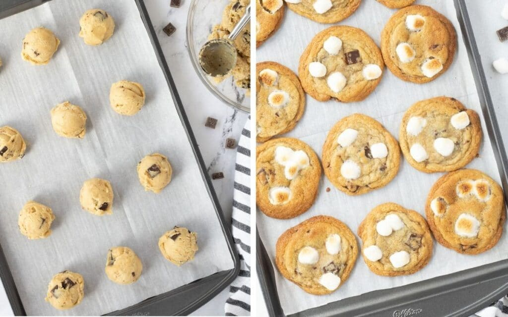 Two photos: Chocolate chip cookie dough balls on baking sheet, and baked cookies with marshmallows added.