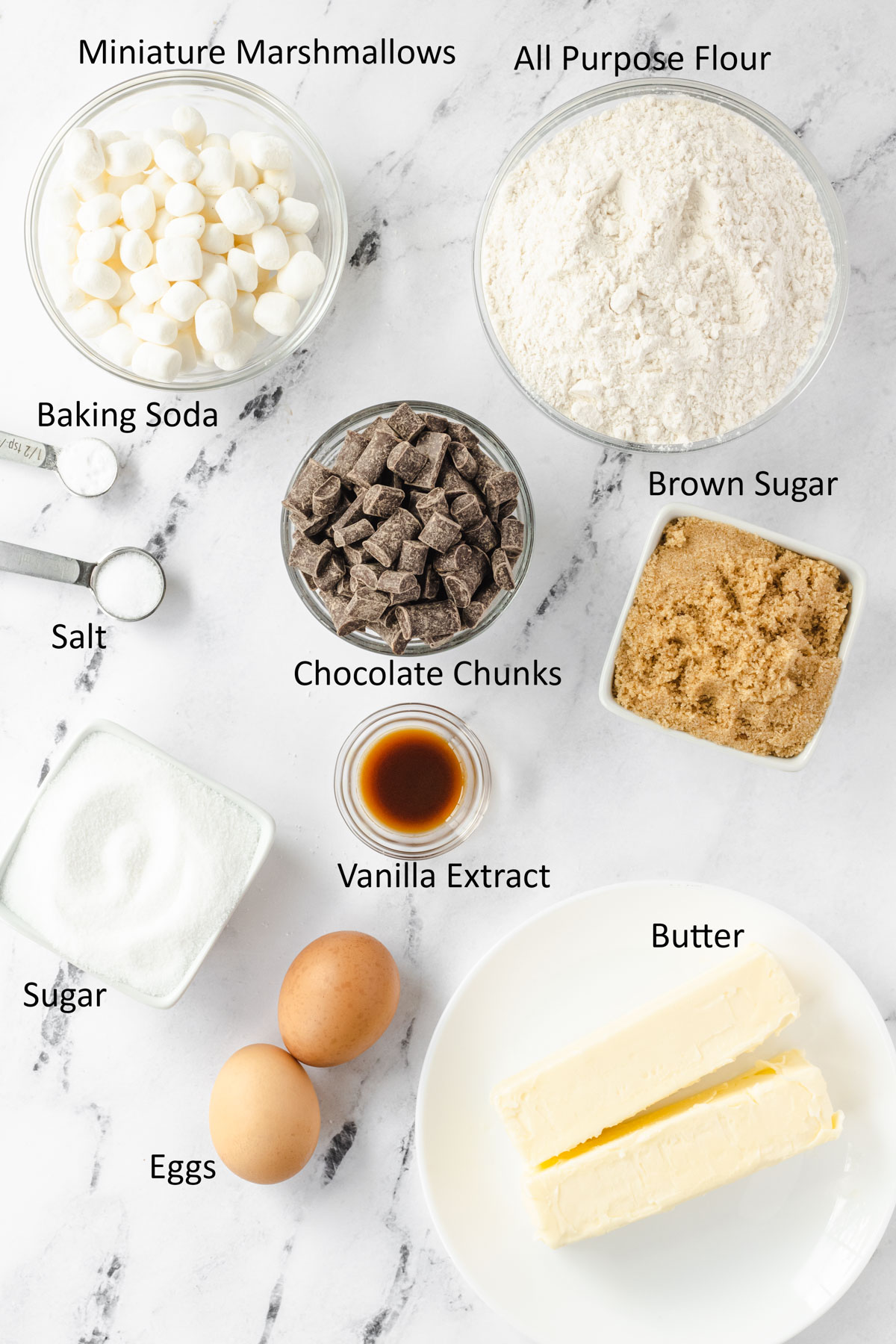 Overhead photo of cookie ingredients.