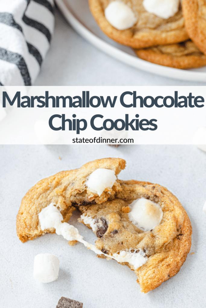 Pinterest Pin: Marshmallow Chocolate Chip Cookies