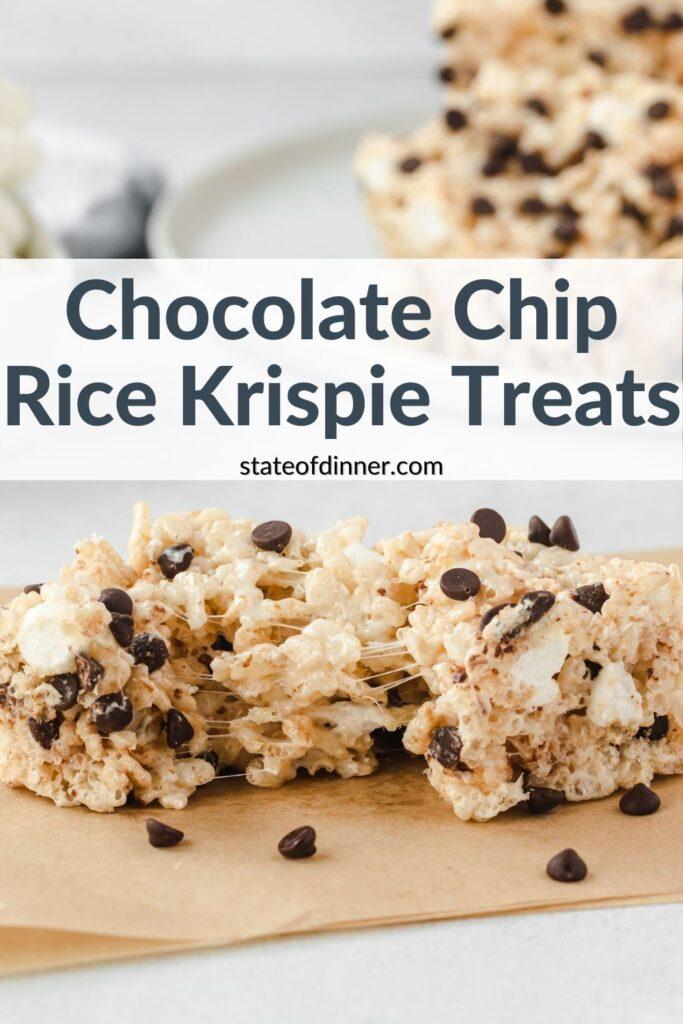 Pinterest Pin: Chocolate Chip Rice Krispie Treats.