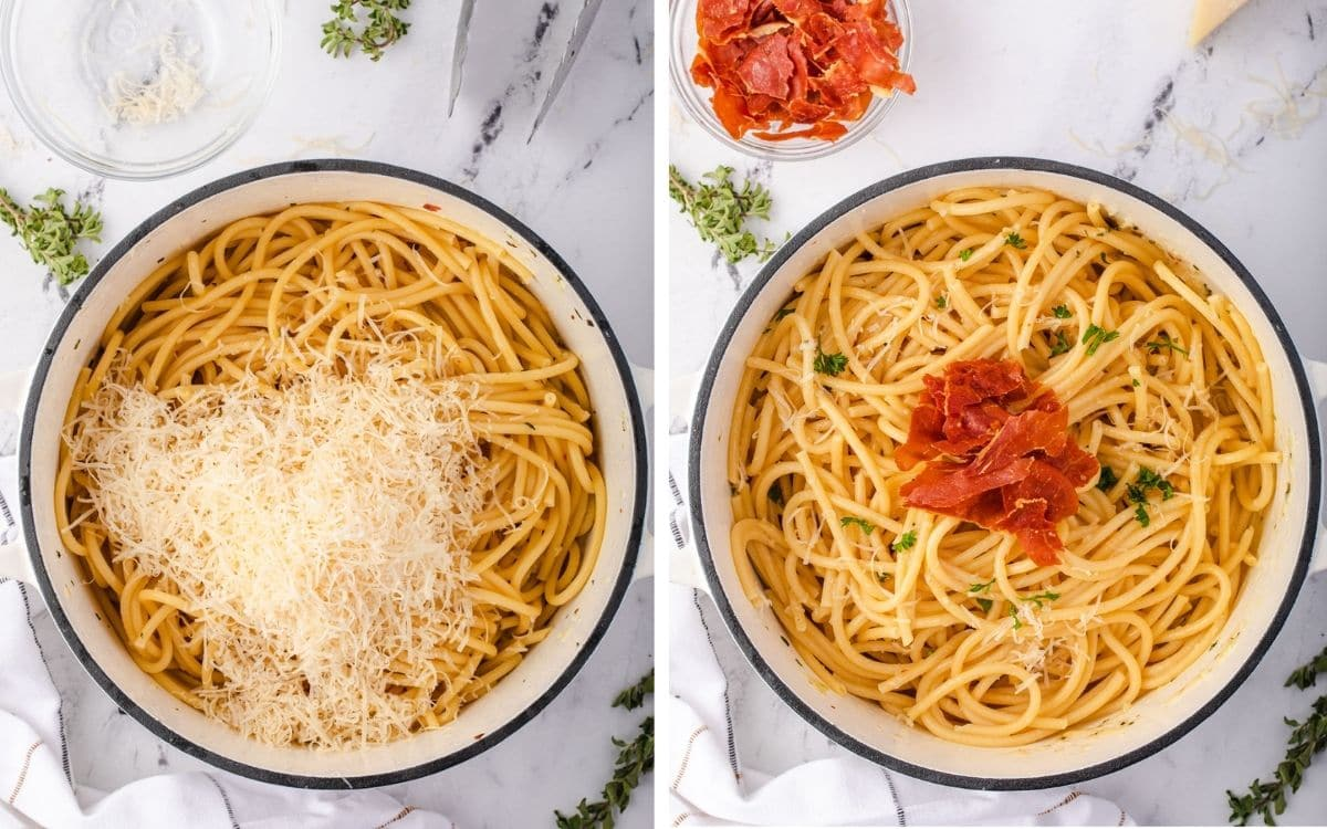 Parmesan and crispy prosciutto added to pasta.