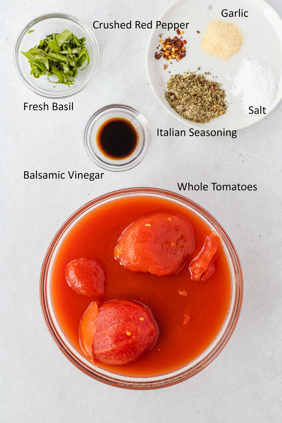 Labeled hearty marinara sauce ingredients.