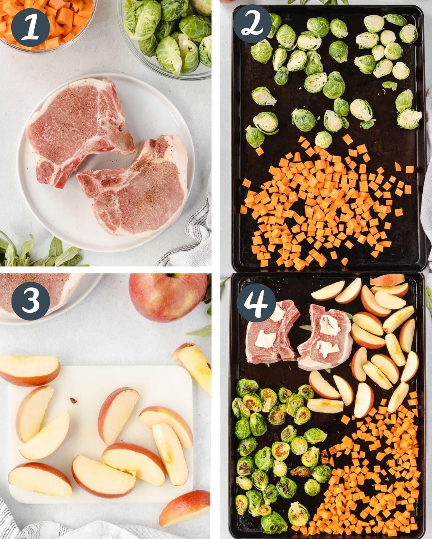 4 steps of making pork chops: Season pork, roast vegetables, slice apples, everything on sheet pan.